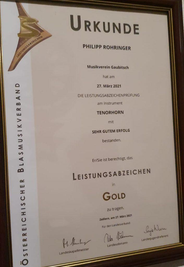 Leistungsabzeichen in Gold für Philipp am 27.03.2021